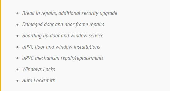 locksmith services list in london